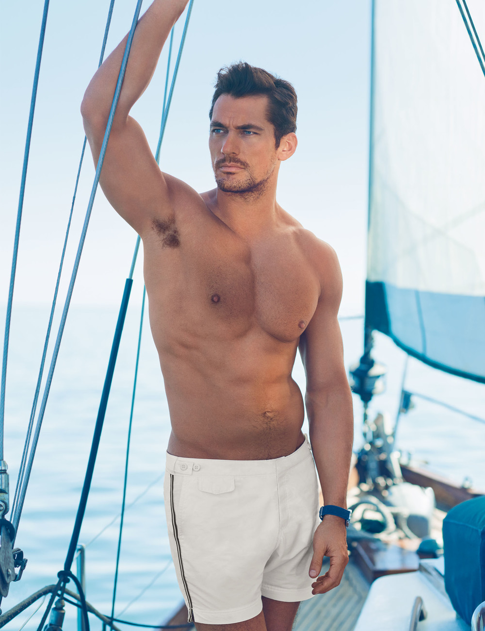 David Gandy for Autograph White Sports Stripe Tailored Fit Mid Length Quick Dry Swim Shorts -ú29.50.jpg