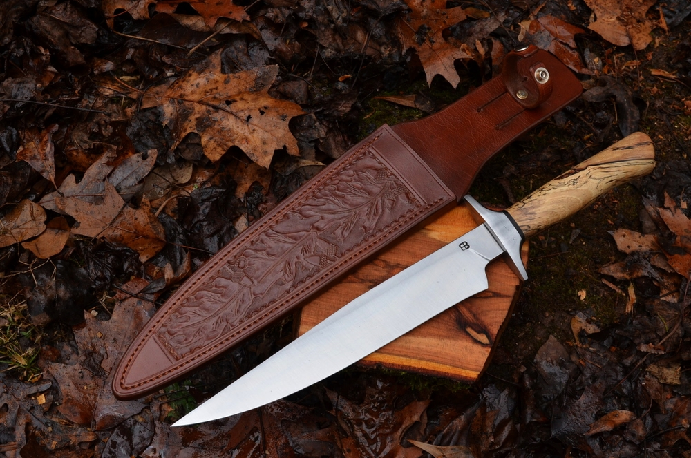 "11"" Fighter Bowie with Spalted Pecan & Wrought Iron Handle & Guard"