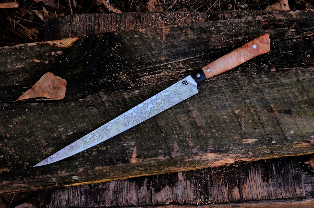 "9.5"" Fillet with Black Micarta bolsters and Maple Burl Full-Tang Handle"