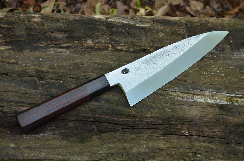 155mm Deba with Cocobolo and blackwood octagonal handle. A knife we designed for the freshwater fish in our area - catfish, bass, and brim.