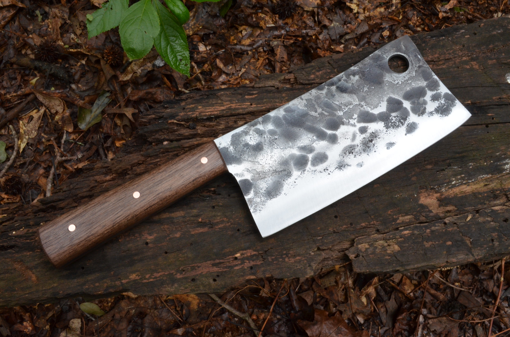 "6"" Rustic Cleaver with Walnut handle"