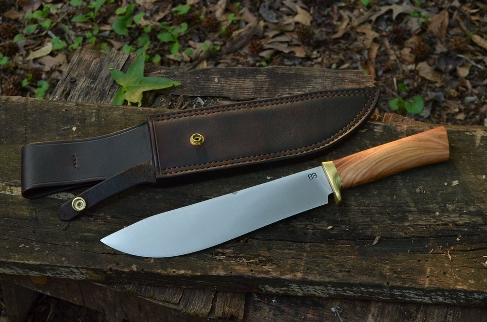 "10"" Chopper Bowie with Choke cherry handle and brass guard"