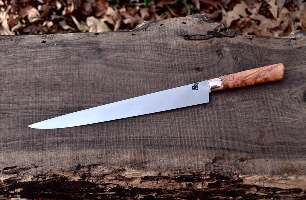 """10"""" Slicer with Copper Bolsters and Maple Burl Handle"""