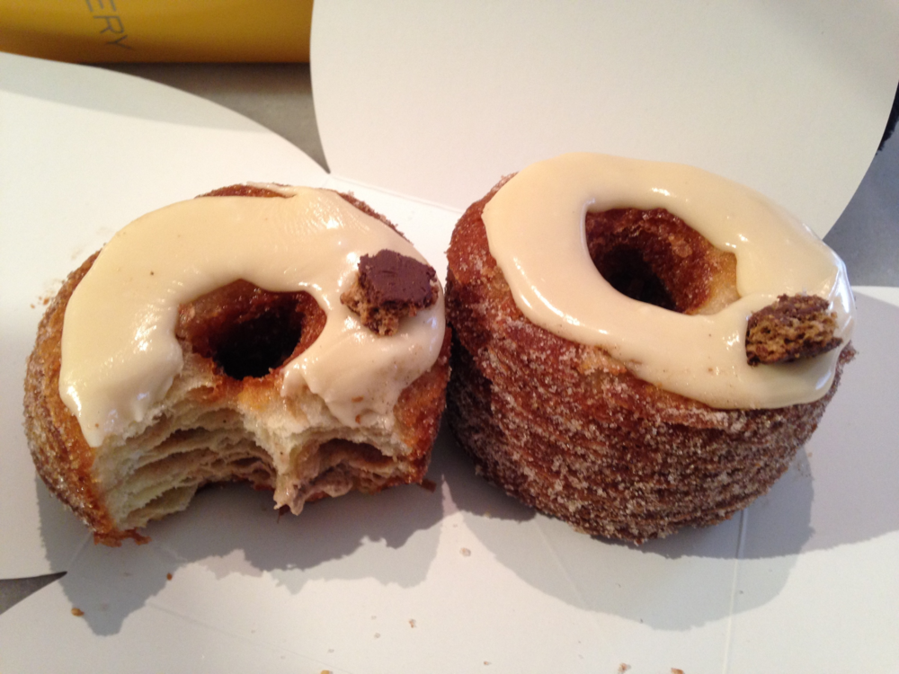 The magnificent Cronut;  Gingerbread Valrhona Milk Chocolate and Pear (with cinnamon sugar and speculoos cookie).