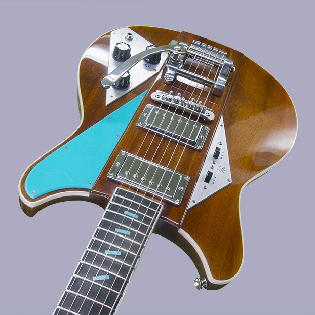 "Teal Acrylic ""Falling Block"" inlay & Pickguard. $3175 as shown"