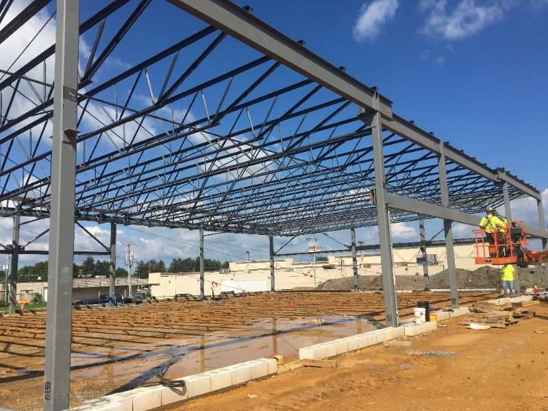 LEBANON PLAZA STEEL RETAIL FLEX BUILDING - Bass fabricated and erected 33 tons of structural steel to construct one of Lebanon County's high profile shopping centers, Lebanon Plaza.