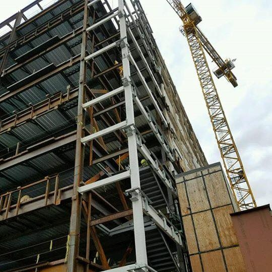 LGH STAIR TOWERS FOR HOSPITAL EXPANSION - Bass worked with Benchmark Construction to fabricate and install 2 large stair towers which spanned 8 floors high for the Lancaster General Health expansion project.