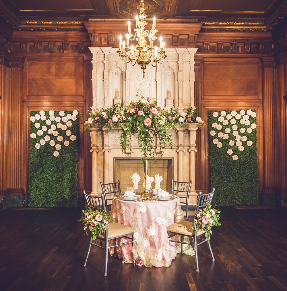 Boxwood Falling Roses Wall Rental Paper Flowers