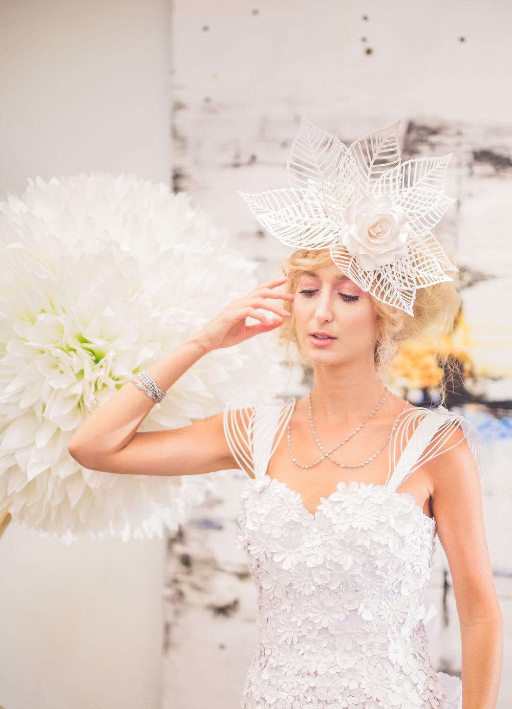 ALL PAPER Wedding Dress, Paper Fascinator