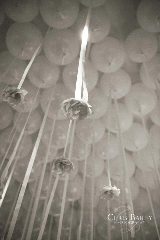 Hanging wedding reception decorations