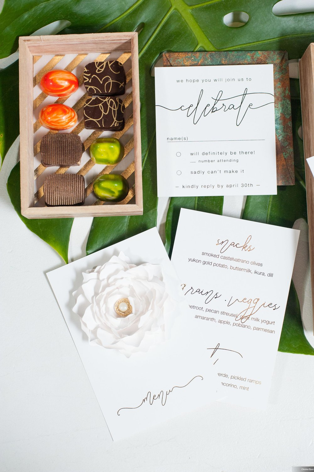 Elegant paper flower wedding invitation