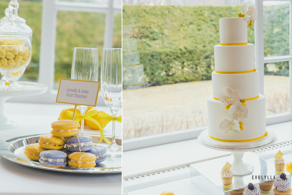 Wedding Cake and Macaroons Yellow and Purple Wedding Themed Colours