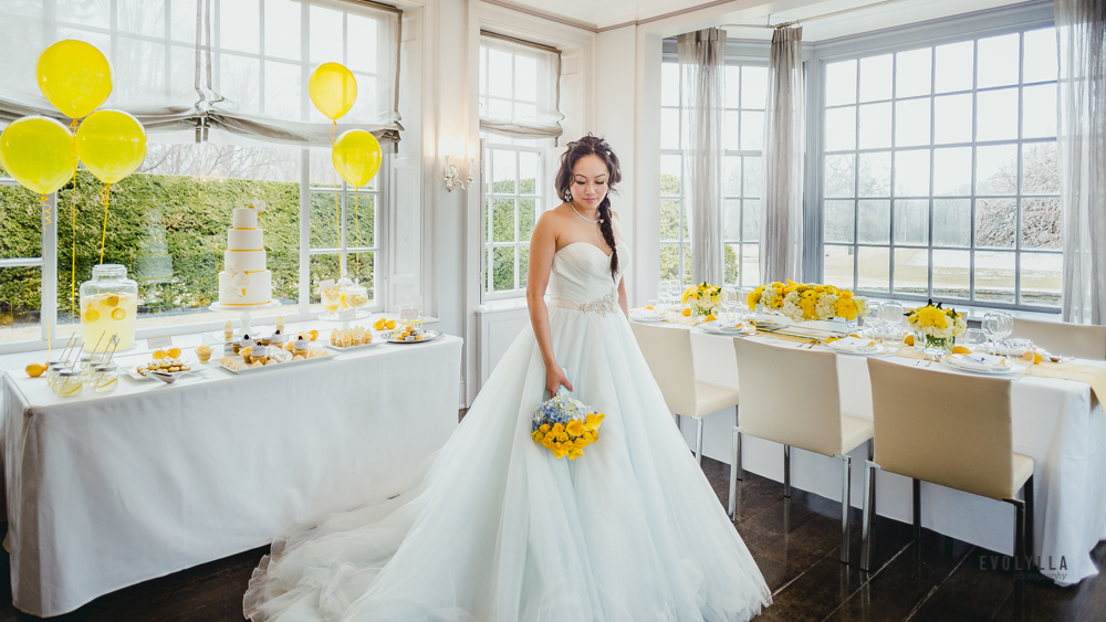 Bride Photo with Head Table and Sweet Table Wedding Creative