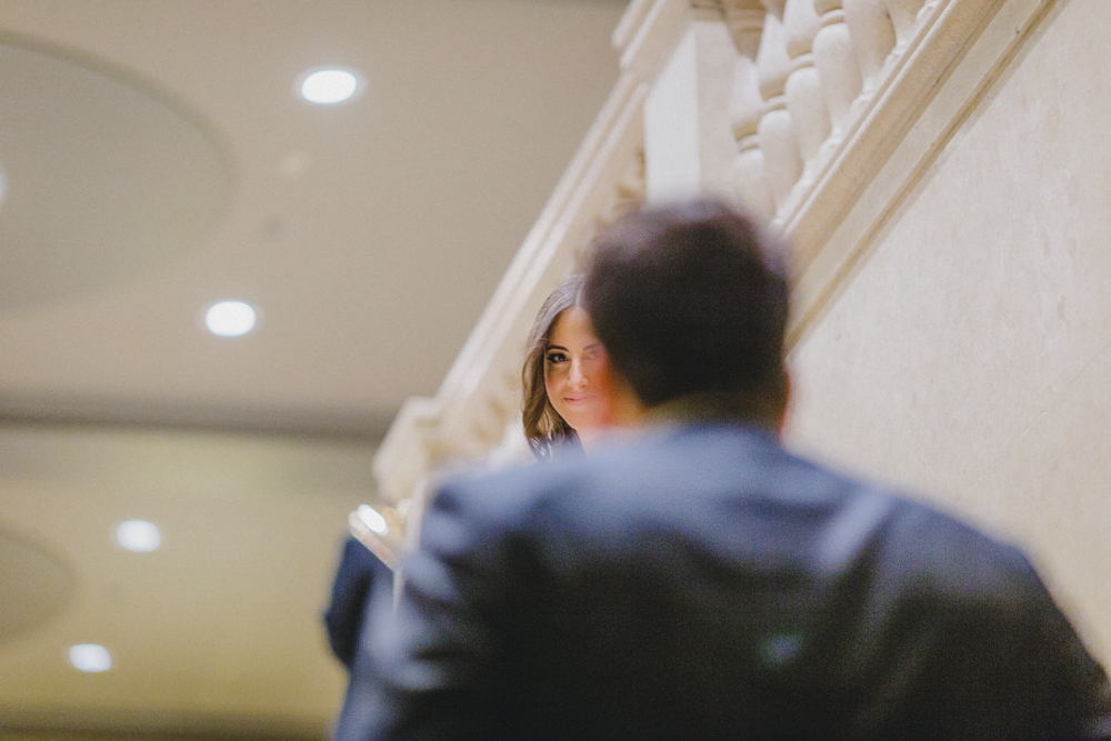 One King West Toronto First Look Bridal Portrait