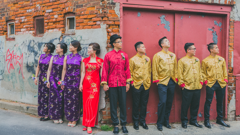 Toronto Traditional Chinese Wedding Creative Bridal Party Portait