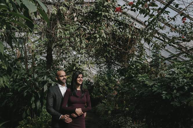 winter engagement photos indoor with natural light