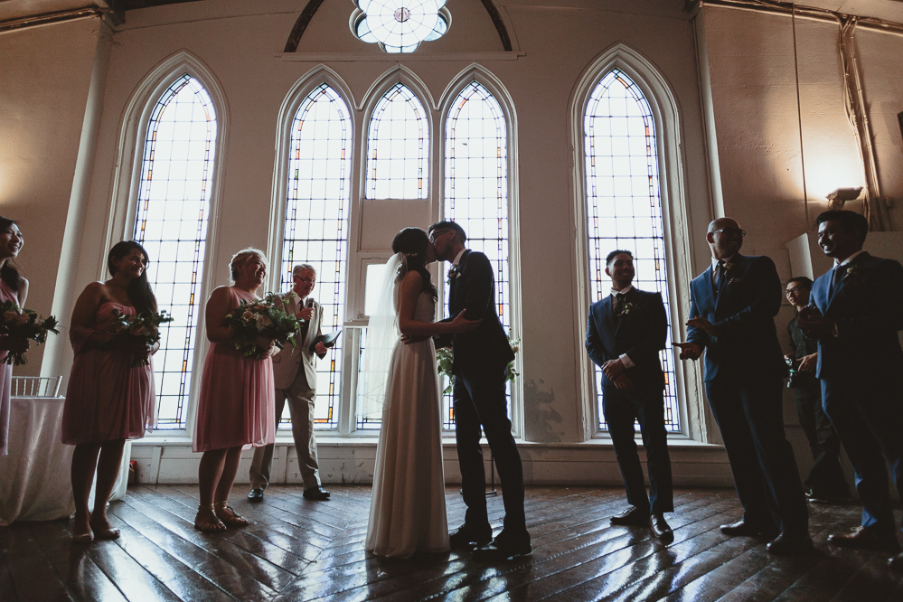 berkeley church wedding - first kiss