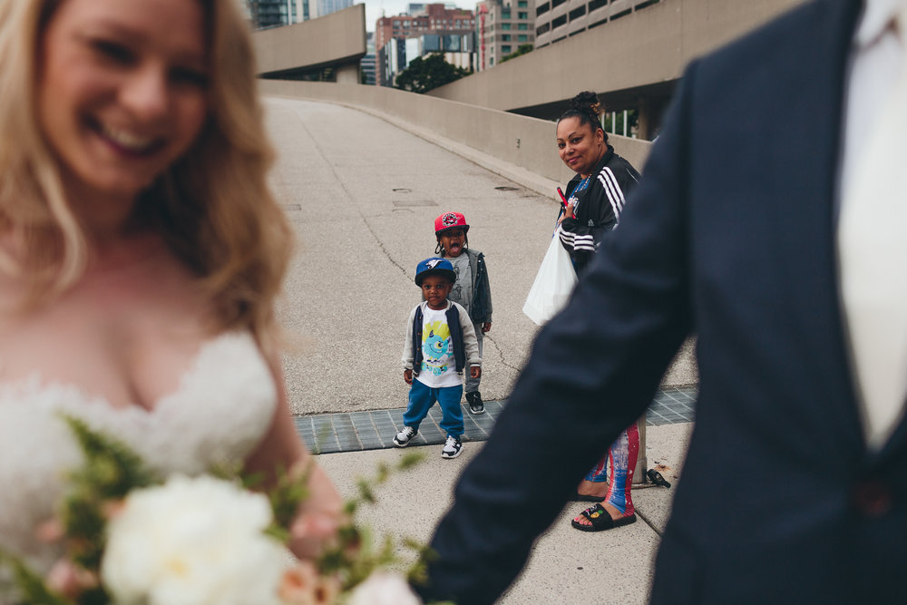 Documentary wedding photography on the street