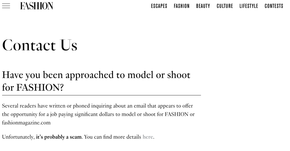 fashion magazine scam