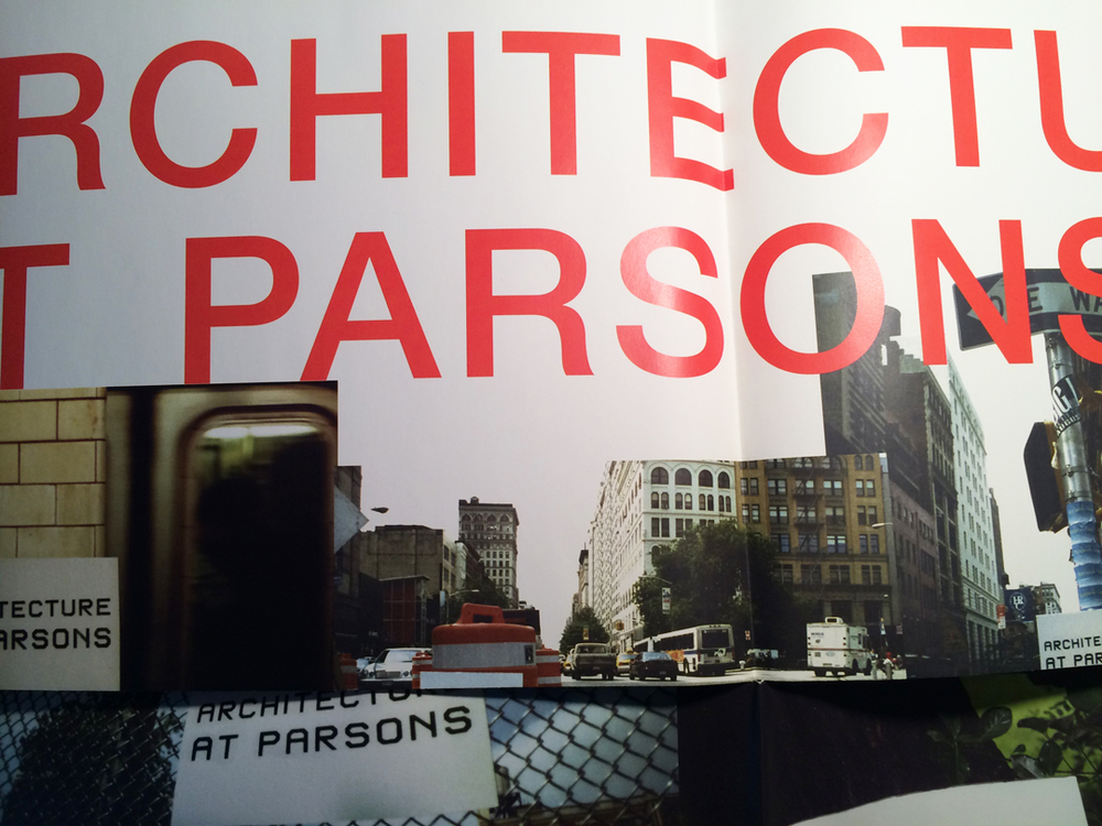 Poster for Parsons Architecture School emphasizing practice in the 'real' world.