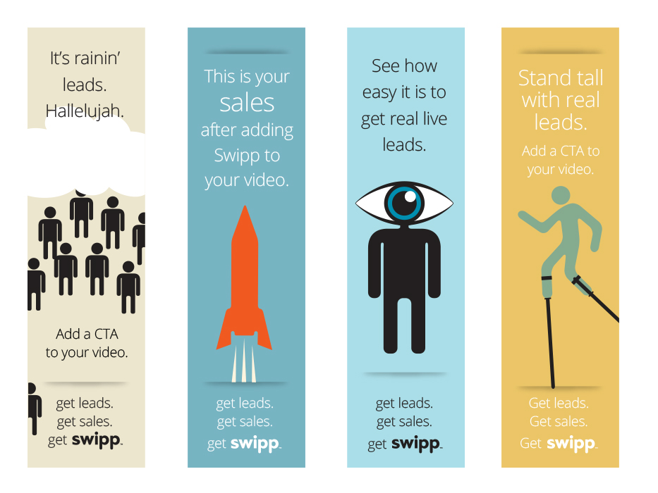 Series of banner ads for Swipp CTA products.