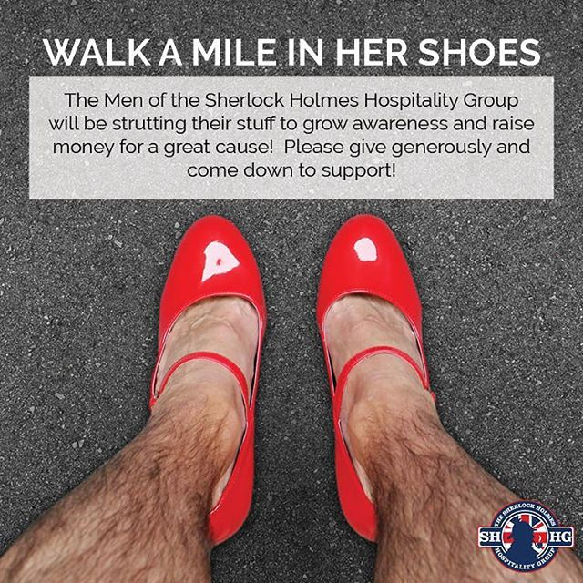 Men of Sherlock Holmes Hospitality Group will be taking part in Walk a Mile in Her Shoes! To help us reach our goal click here -  http://bit.ly/2c6aIjC  Wednesday September 21 at 11:30am  Come down and see the fabulous men of Sherlock's strut around Churchill Square!!! #yeg #ywca #walkamileinhershoes #donate #awareness #prevention