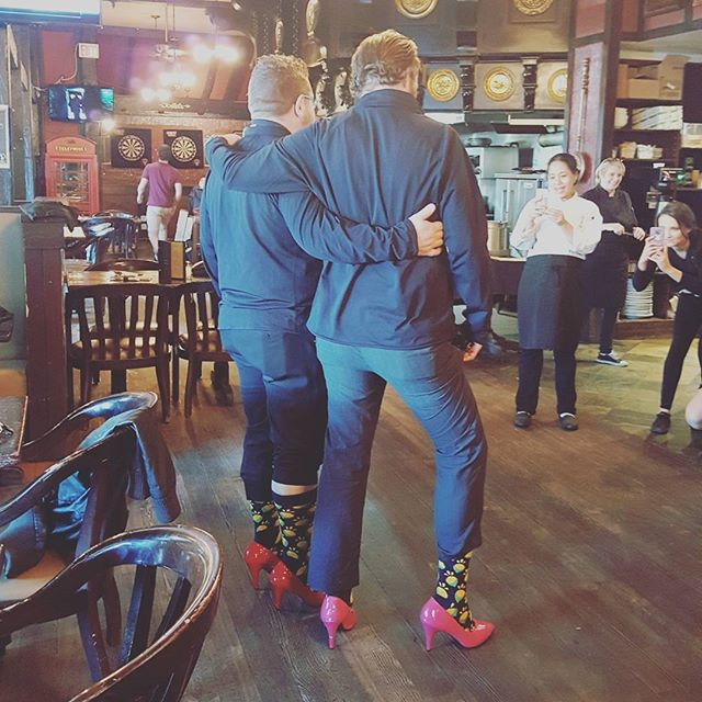 Strike a pose gents #walkamileinhershoes #yeg #roseandcrownyeg #downtownyeg #sherlockholmesdt #sherlockholmescampus #sherlockholmeswem #duggansboundary