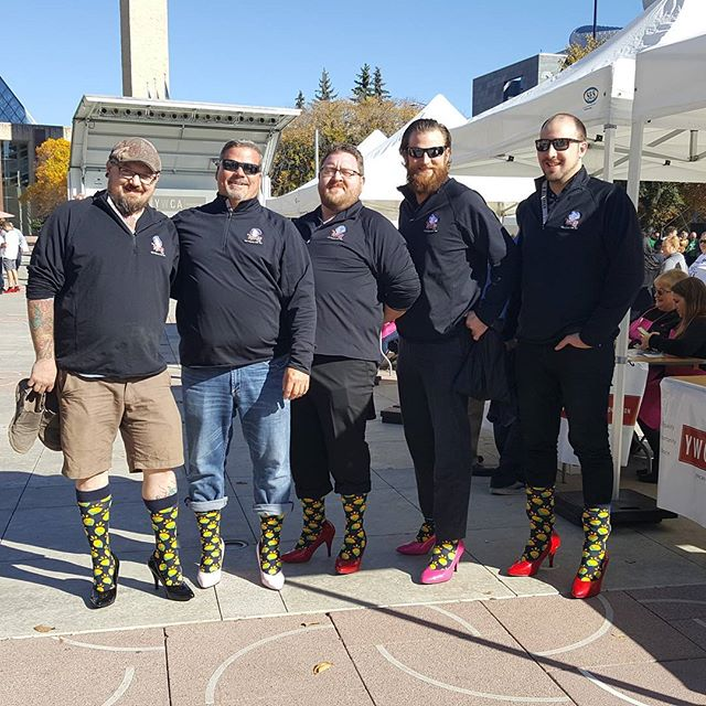 The guys are ready to go and looking mighty fine! #walkamileinhershoes #sherlockholmescampus #sherlockholmesdt #sherlockholmeswem #duggansboundary #roseandcrownyeg #yeg