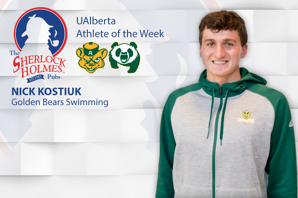 Fourth-year University of Alberta Golden Bears swimmer Nick Kostiuk is the Sherlock Holmes Athlete of the Week for the week of November 28, 2016    The Faculty of Science student-athlete broke one Canada West record, and hauled in a total of six medals at the 2016-17 Canada West swimming championships, which were hosted at the Kinsmen Sports Centre pool in Edmonton, including three gold medals in individual races. He finished atop the podium in the 50m, 100m and 200m breaststroke races, and his time of 2:09.97 in the 200m final on Sunday bested a record that was set in 2009.    He also helped Alberta's 4 x 100m medley relay team to a gold finish, bringing his personal medal haul to four, all gold. He also swam on the Bears' bronze medal 4 x 100m freestyle relay team and the 800m freestyle relay team that also captured bronze.    Nick was named a first team Canada West all-star for his efforts, and he and the Golden Bears, as well as Pandas, will next advance to the Canadian university national swimming championships, which run February 24-26, 2017 in Quebec at the University of Sherbrooke.