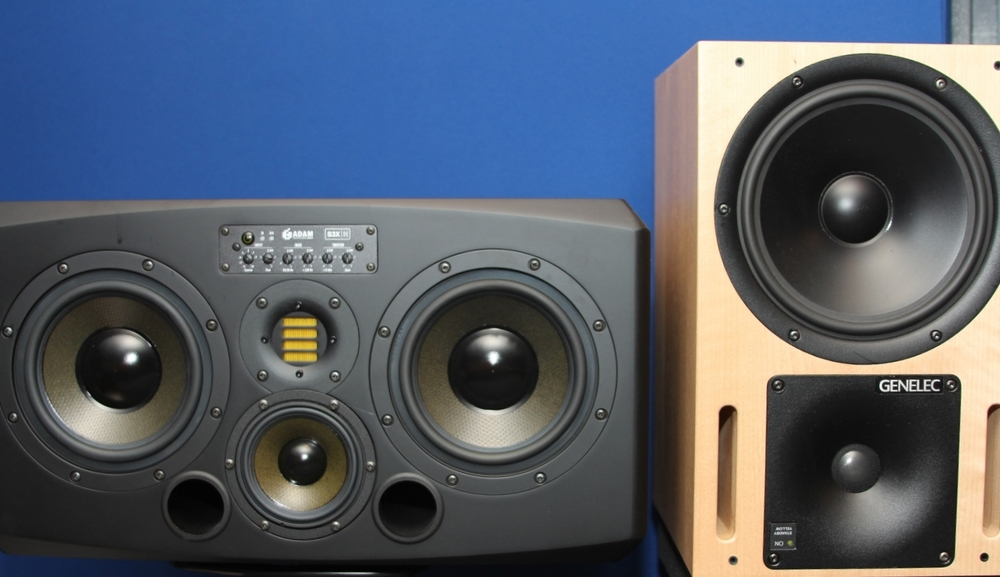 Adam S3X-H and Genelec 1031A monitors (birch prototype)
