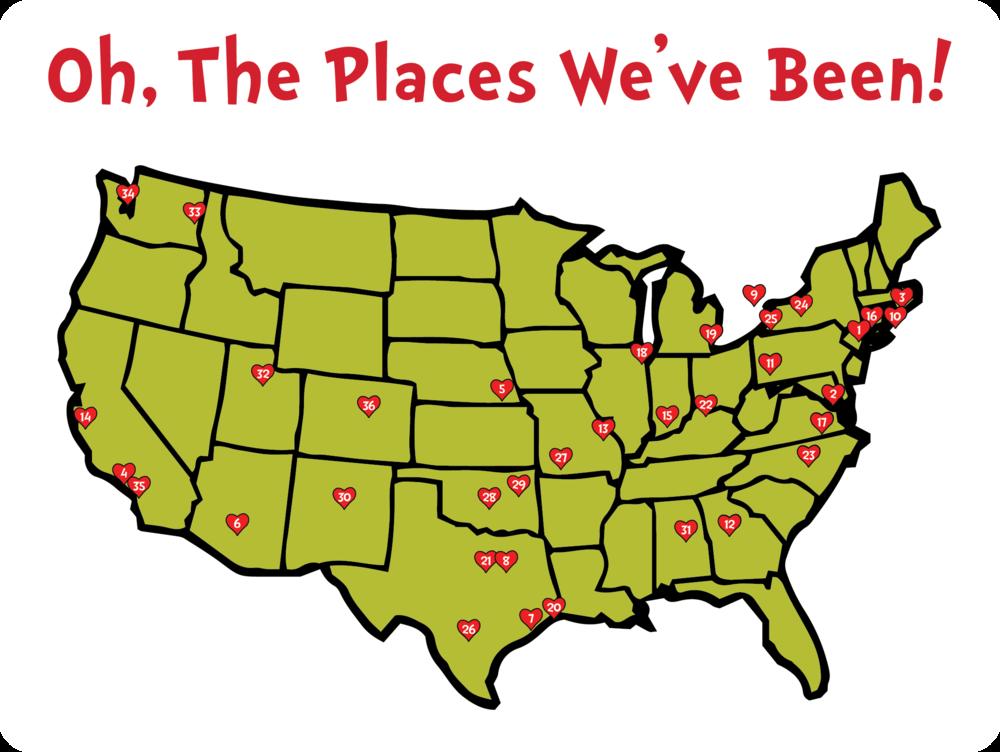1. New York, NY, 2. Baltimore, MD, 3. Boston, MA, 4. Los Angeles, CA, 5. Omaha, NE, 6. Tempe, AZ, 7. Houston, TX, 8. Dallas, TX, 9. Toronto, ON, 10. Providence, RI, 11. Pittsburgh, PA, 12. Atlanta, GA, 13. St. Louis, MO, 14. San Francisco, CA, 15. Bloomington, IN, 16. Hartford, CT, 17. Richmond, VA, 18. Chicago, IL, 19. Detroit, MI, 20. Orange, TX, 21. Ft Worth, TX, 22. Cincinnati, OH, 23. Durham, NC, 24. Rochester, NY, 25. Buffalo, NY, 26. San Antonio, TX, 27. Springfield, MO, 28. Oklahoma City, OK, 29. Tulsa, OK, 30. Albuquerque, NM, 31. Birmingham, AL, 32. Salt Lake City, UT, 33. Spokane, WA, 34. Seattle, WA, 35. Costa Mesa, CA, 36. Denver, CO
