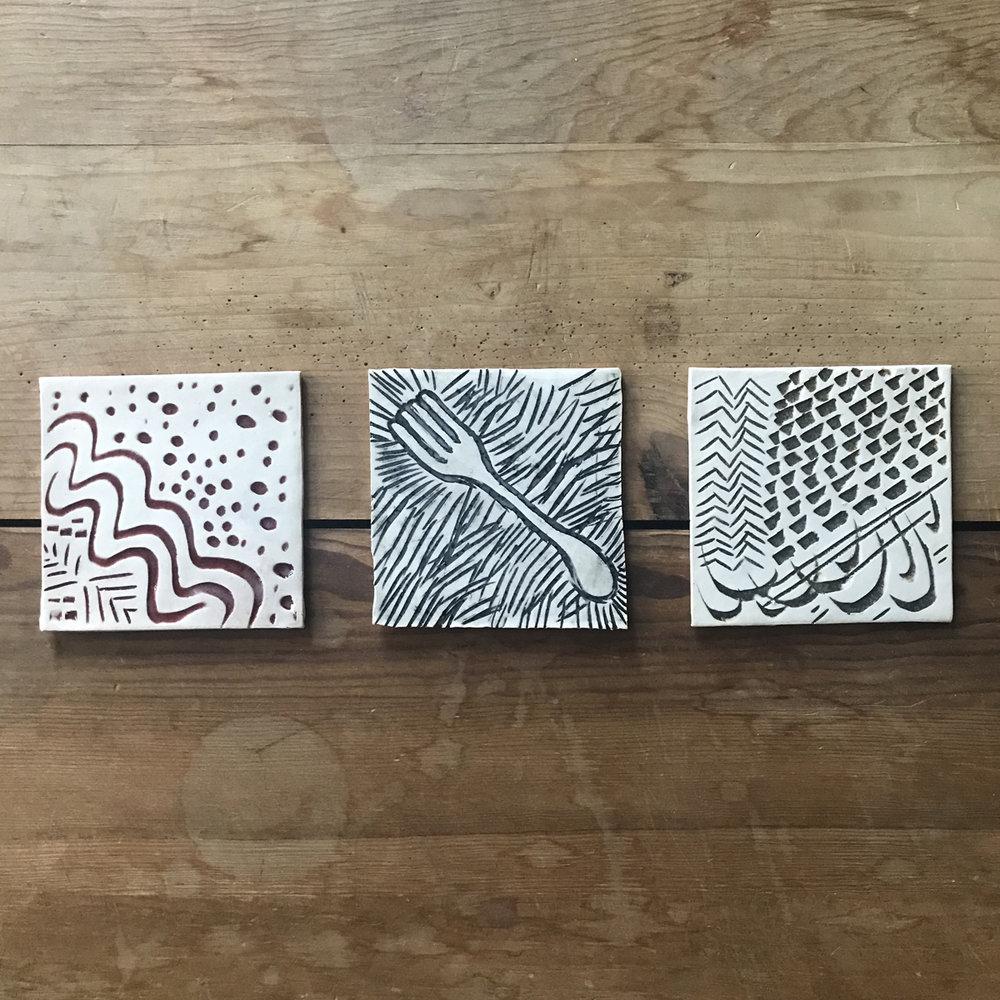 Silly Glaze Test Coasters 053, $2 each