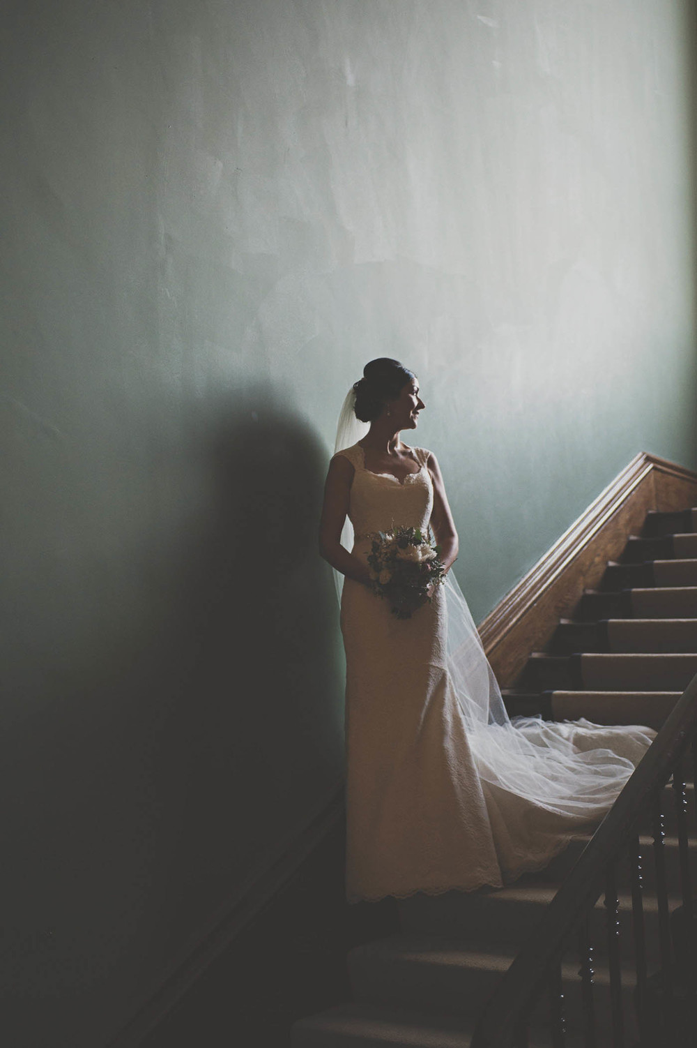 Horetown House wedding, bride on stairs