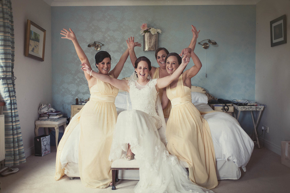 Druids Glen Wedding 2014, bridal party in bedroom