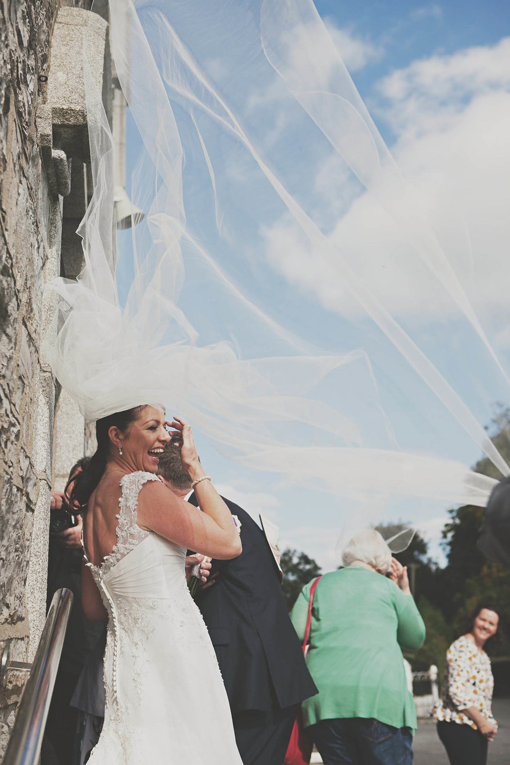 Middleton Park House wedding, opportune photograph of veil blowing in the wind
