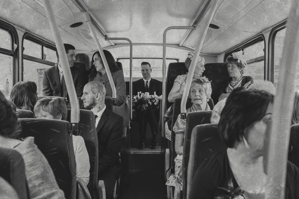 Cliffhouse wedding guests on bus