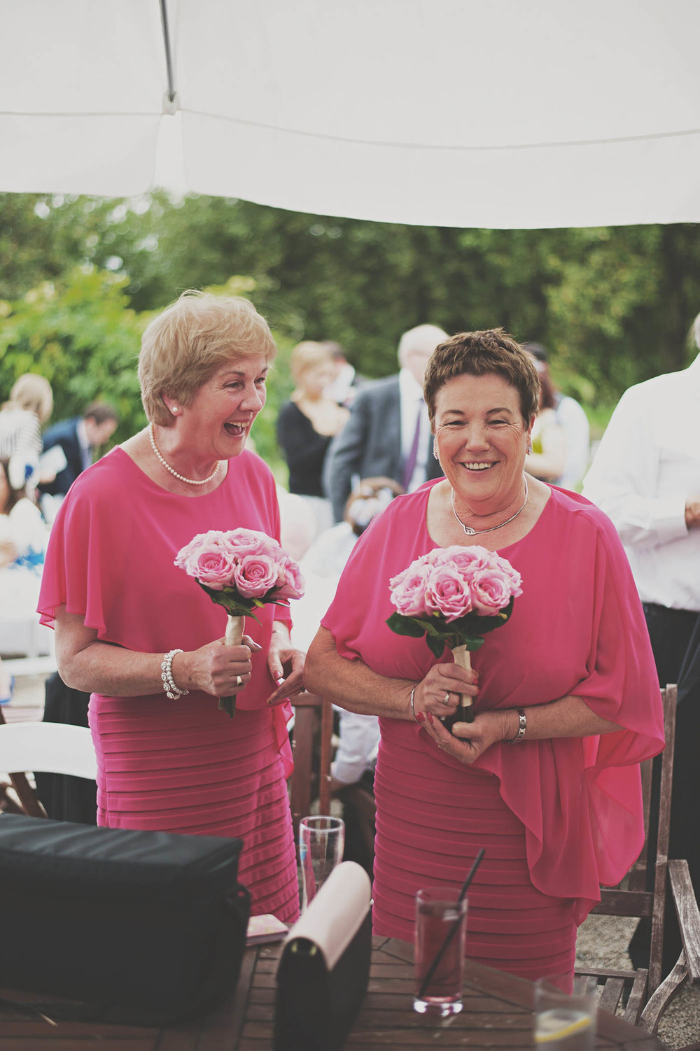 The Millhouse, Slane wedding, guests in the same outfits with bridesmaids flowers