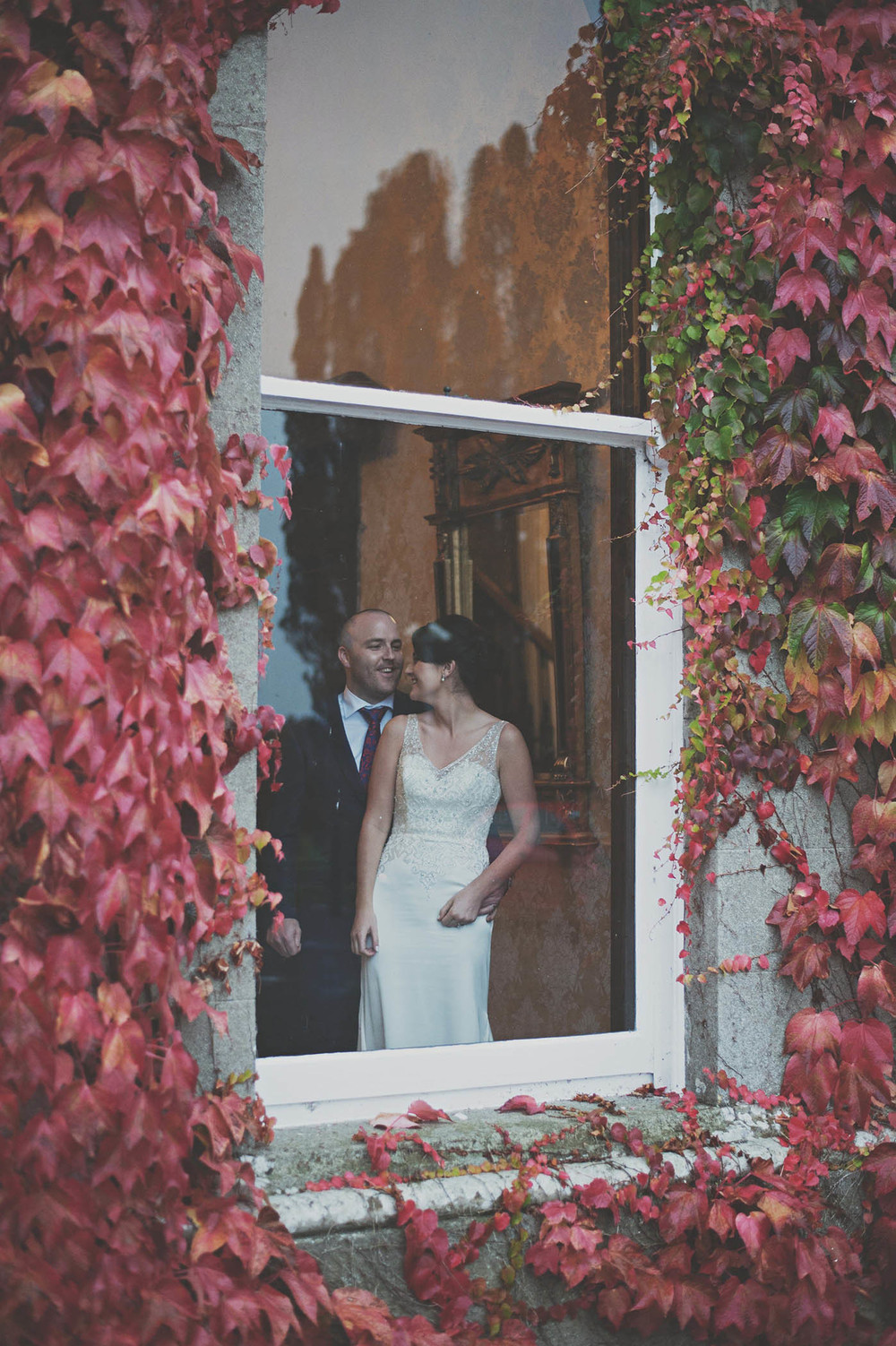 Lyrath House wedding, couple in the window