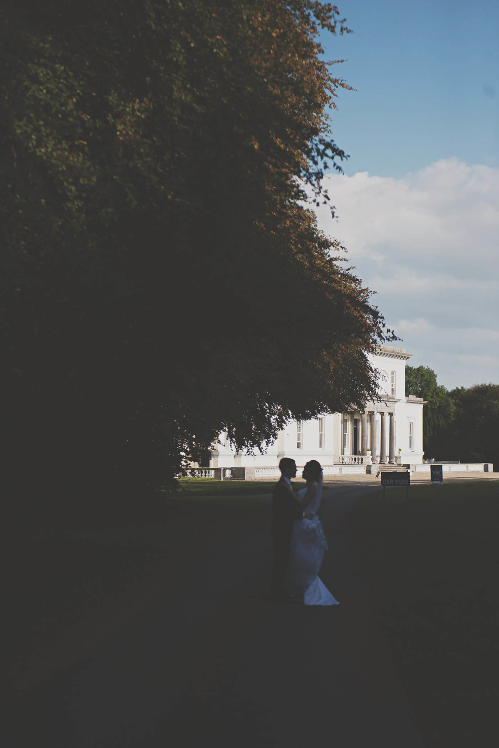 Middleton Park House wedding, couple in the shadows