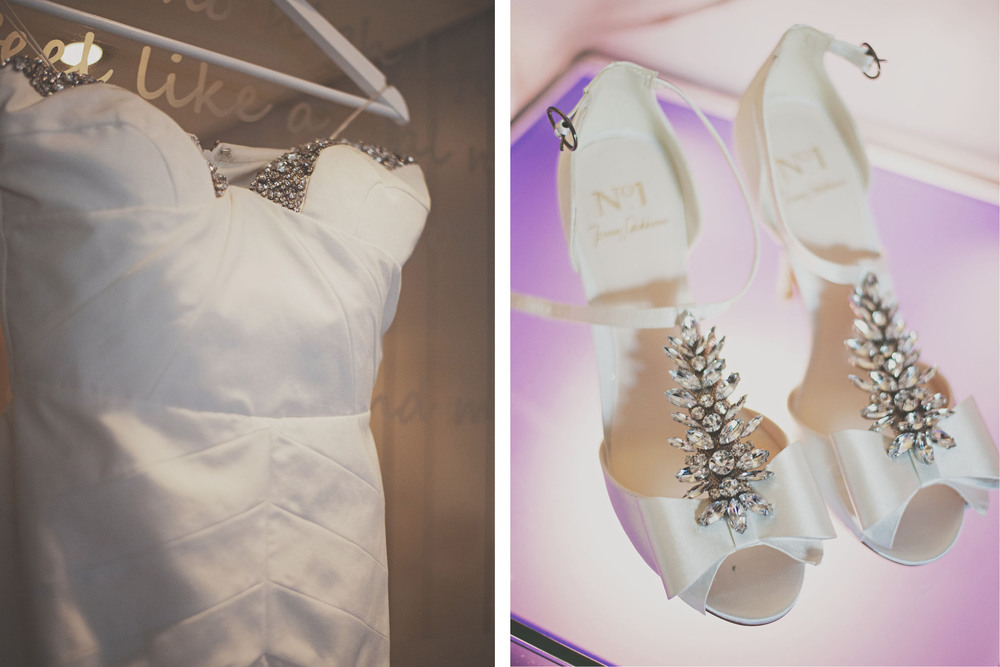 Brides dress and shoes Morrison Hotel