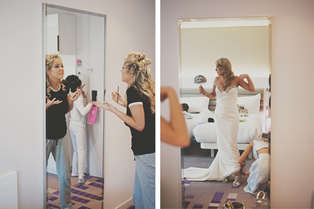reportage style photograph of bride preparations