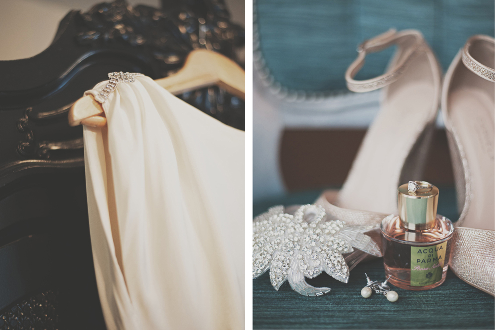 Bride's dress and shoe details