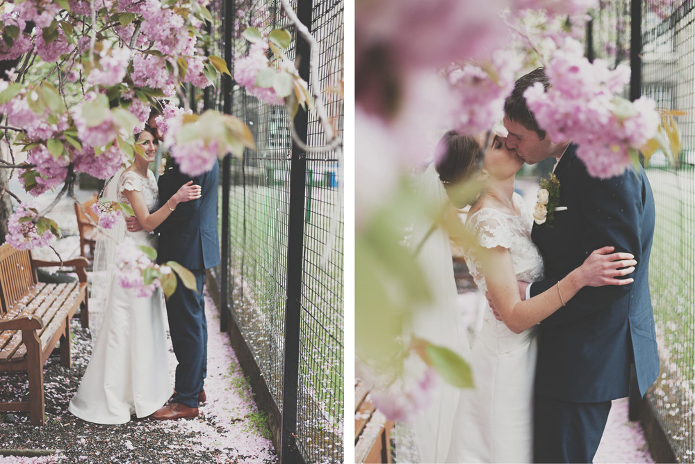 Cherry blossoms and Wedding couple at Trinity College Dublin