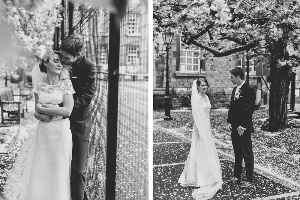 Black and white wedding photographs at Trinity College Dublin