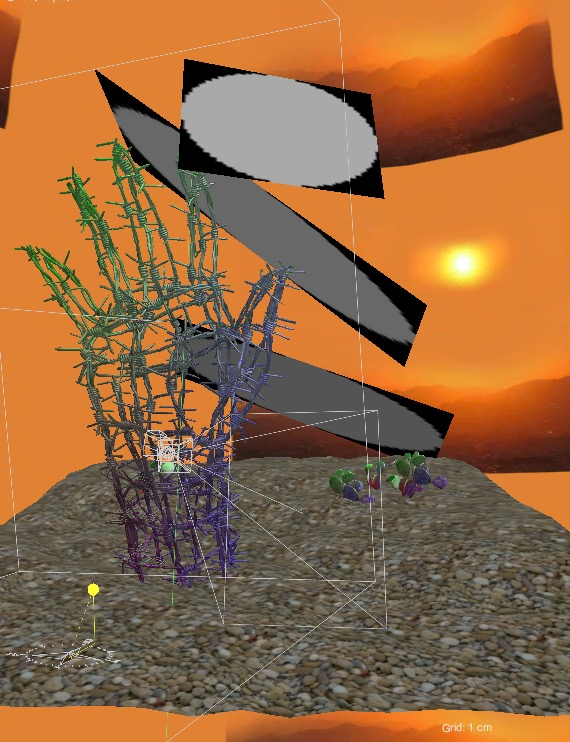 "Here is an alternate view in Maxwell render, you can see the barbed wire hand on a textured surface with small cacti in the distance. The 3 light sources hover over the model and are ""invisible"" to the camera at render time. The environment is a photo background of a hot sunny sky."
