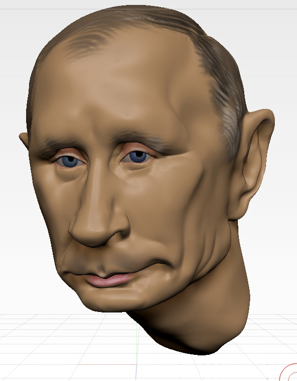 Studying photos of Putin, the expression starts to develop.
