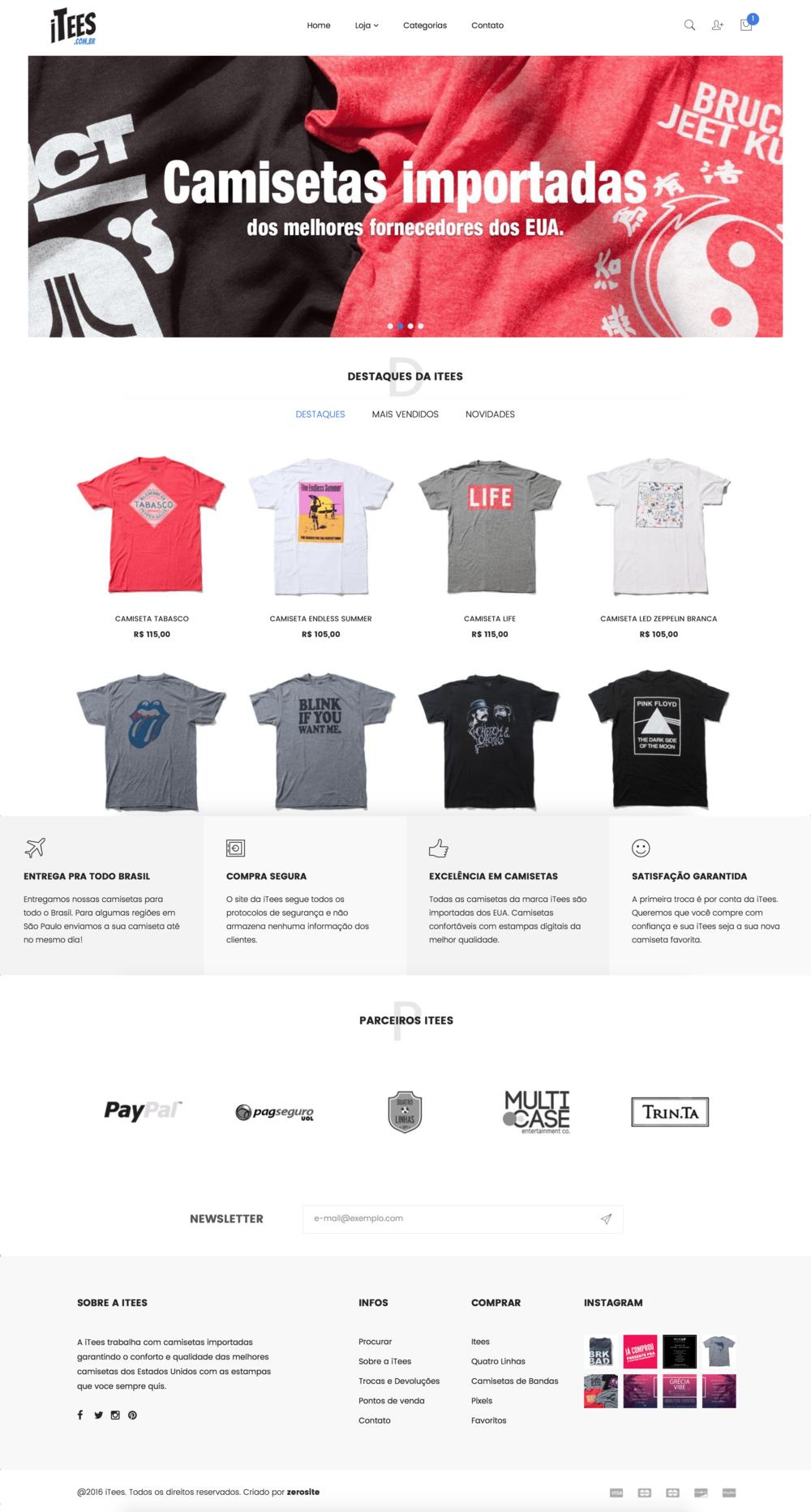 Loja de camisetas online itees
