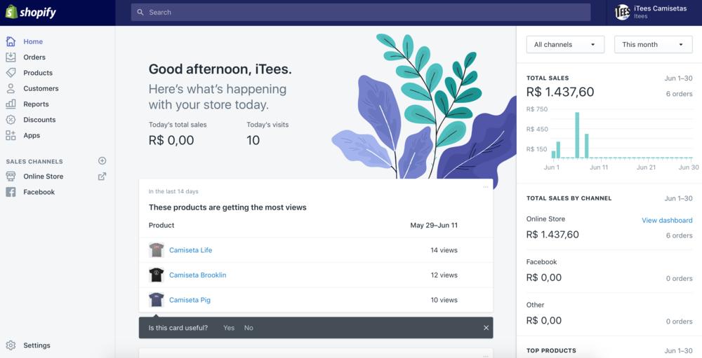 Sistema de admin do Shopify
