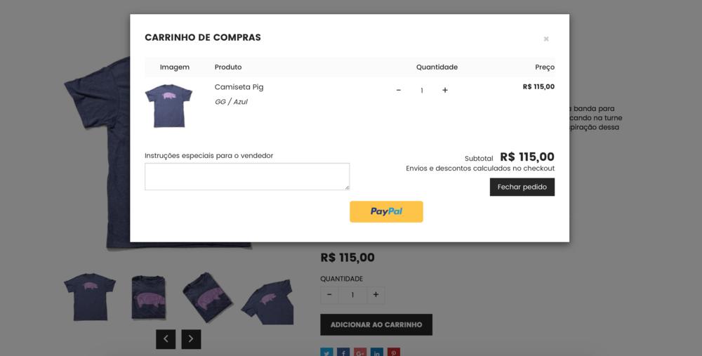 Loja de camiseta carrinho de compras itees
