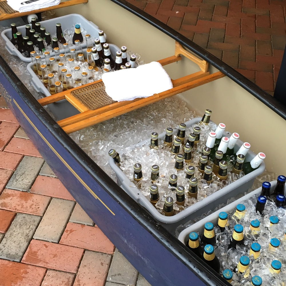 Beer canoe during the cocktail reception!